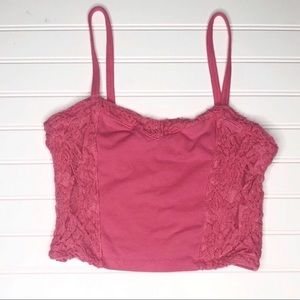 COPY - Hollister Pink Lace Trim Cropped Tank Top